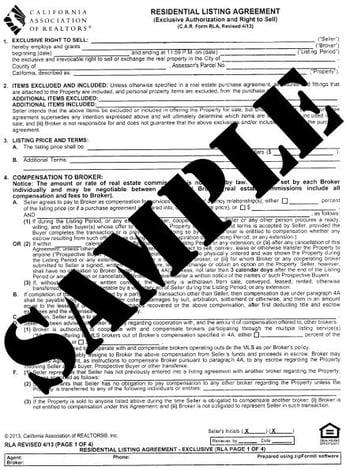 Residential Listing Agreement Sample